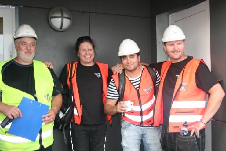 Some of the crew working that day, from the left: Erik Hanche (Foreman), Kjell Lindqvist, Ivan Coronado and Rudi Romsaas