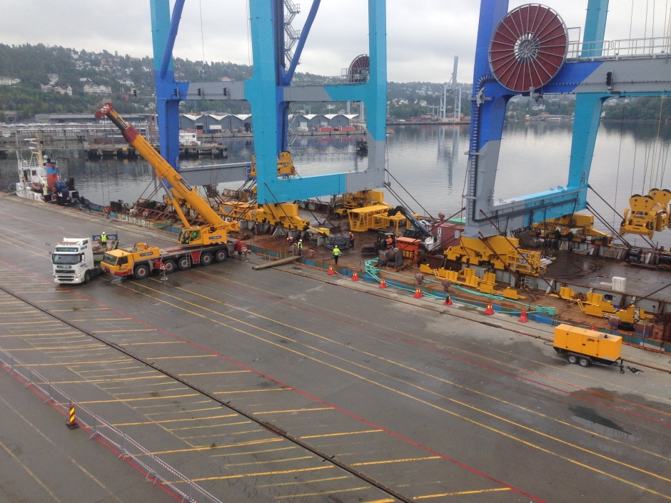 Alreday begun the operation of getting the cranes on to the quayside :)
