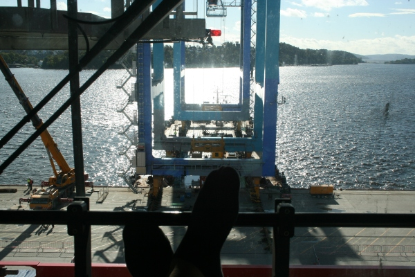 View of the operation from inside an RTG